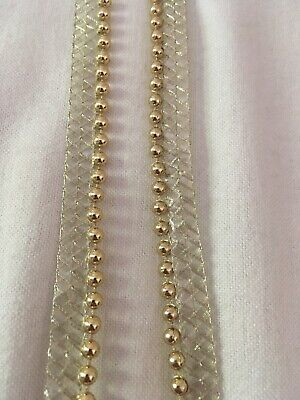 1 Yard Gold Beaded Pearl Lace Trim Excellent Quality Ribbon Trim 12mm • 1.99£