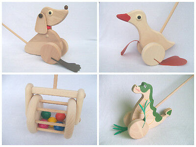 Wooden Toy Push Along Eco Friendly Duck, Dragon, Dog, Lawnmower Gift • 9.99£