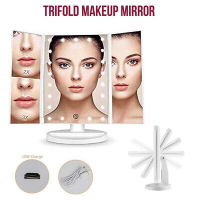 AU18.89 • Buy Makeup Mirror With Light Touch Screen Dimmable Lights Up Vanity Cosmetic Trifold