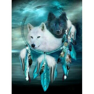 AU13.97 • Buy Full Drill DIY 5D Diamond Painting Kits Embroidery Decor Wolf Dream Catcher AU