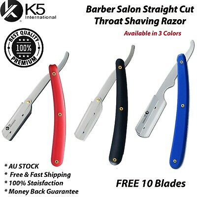 AU7.45 • Buy Barber Salon Straight Cut Throat Shaving Razor Shavette RASOIRS RASOI +10 Blades