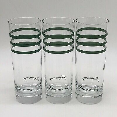 Tanqueray Tall Gin & Tonic Glass X 3 Green Stripe Approx 17cm High • 19.99£