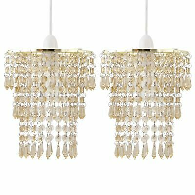 Set Of 2 Modern Easy Fit Ceiling Light Shades Gold Amber Acrylic Crystal Jewels • 23.99£