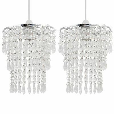 Set Of 2 Modern Easy Fit Ceiling Light Shades Chrome Clear Acrylic Crystal Jewel • 21.99£