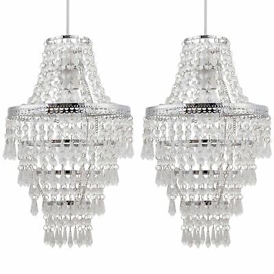 Set Of 2 Chrome Chandelier Style Acrylic Crystal Easy Fit Ceiling Light Shades • 37.99£