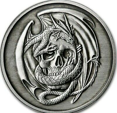 $ CDN192.23 • Buy 5 Oz .999 Pure Silver Proof Skull Embrace Antiqued Anne Stokes Round Coin Dragon