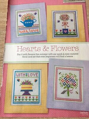 Cross Stitch Birthday Card Charts Hearts And Flowers • 0.99£