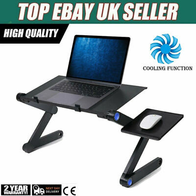 Folding Notebook Laptop Desk Table Stand Sofa Bed Tray W/ Cooling Fan Mouse Boad • 15.99£