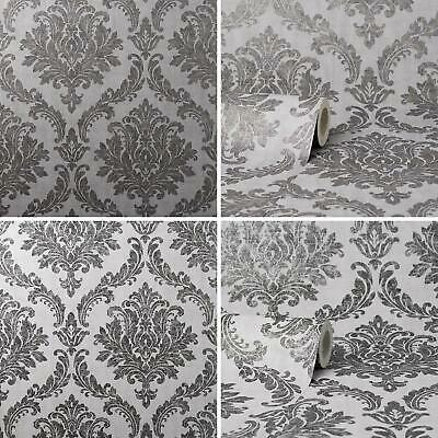Tulsa Damask Wallpaper Crown Black Charcoal Grey Textured Glitter Classic • 14.49£
