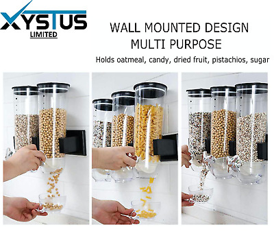 £13.99 • Buy Wall Mounted Cereal Dispenser Dry Food Storage Container Single, Double & Triple