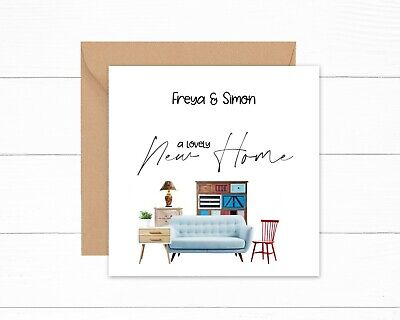 £2.99 • Buy Personalised New Home Card Family 1st Home Moving In Modern New House