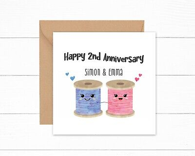 Personalised 2nd Wedding Anniversary Card Cotton Reels 2 Years Couple Mr Mrs • 2.95£