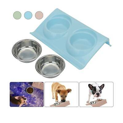 Stainless Double Food Water Pet Feeding Bowl Puppy Cat Dog Kitten NON Slip Dish • 4.49£