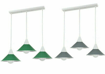 Pendant Ceiling Light 3 Head Lampshade Industrial Retro Modern PVC Cable Fitting • 38.75£