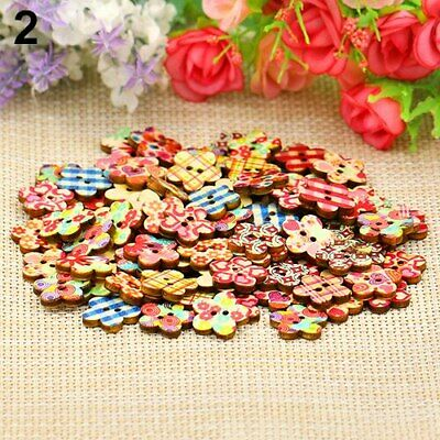 Pack Of 100 Flower Shaped Crafting Buttons Wooden Multicoloured Patterned • 2.99£