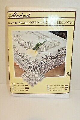 $22.54 • Buy Tablecloth 60  X 104  Rectangle Hand Scalloped Lace Madrid NEW Seats 8-10 White