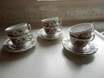 Ridgway Pottery Ironstone  Cups And Saucers X 6 Floral  Mandalay Vintage • 12.99£