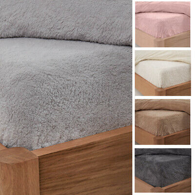 Teddy Fleece Fitted Sheet Thermal Warm Single Double King Bedding NEW • 8.50£