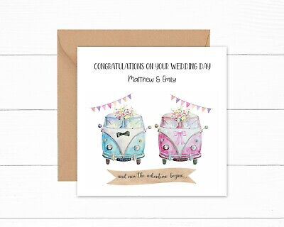 £2.99 • Buy Personalised Wedding Day Card Campervan Campers His Hers Adventure Begins Mr Mrs