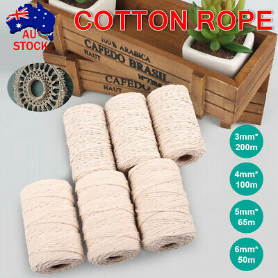 AU22.59 • Buy 3/4/5/6mm Natural Cotton Rope Cord String Twisted Beige Craft Macrame Artisan AU