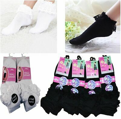 3 Pairs Girls Cotton School Socks For Kids, Frilly Lace Ankle Liner All Size • 3.99£