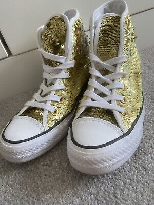 Converse Size 3 Gold Sequin High Tops • 22£
