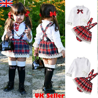 2Pcs Baby Infant Girl Bow-tie Lace Shirt Tops+Jumpsuit Skirt Plaid Shorts Outfit • 6.79£