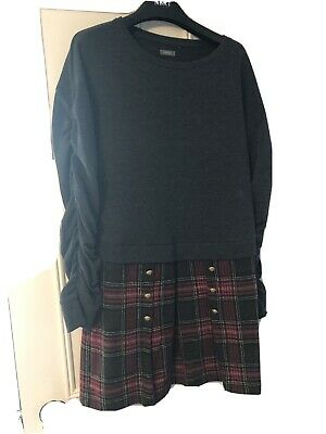 Girls Grey & Red Checked Dress From Next Size 13 Years • 2.99£