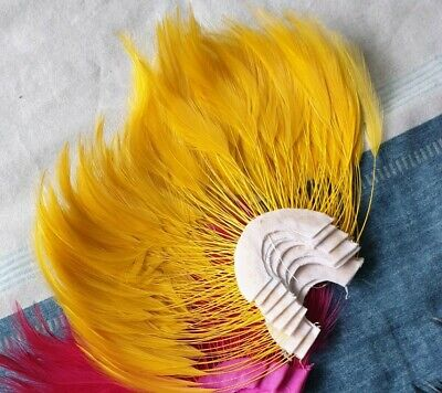[Reduced] Long Stripped Goose Feathers Millinery Hat Fascinator Trimmings-Yellow • 3.49£