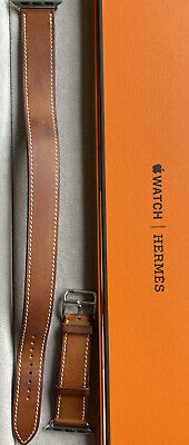 AU459 • Buy Authentic Apple Hermes Fauve Barenia Double Tour Leather Watch Band 38mm 40mm