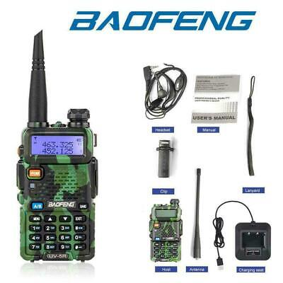 Baofeng UV-5R Walkie Talkie UHF/VHF Dual Band Two-Way Radio +Earpiece Camouflage • 17.99£