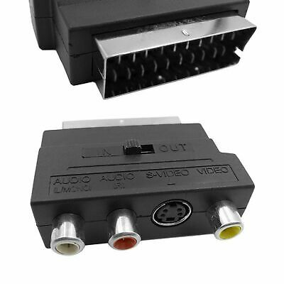 SCART To 3 RCA Composite Phono SVHS S-Video Adapter In Out Switch Converter UK • 3.19£