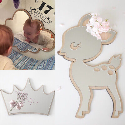 Acrylic Wood Modern Mirror Wall Sticker Home Decor For Children Room Decal ZH1 • 7.85£