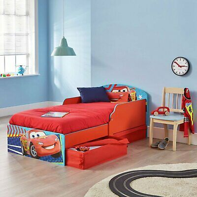 Disney Cars Multicolour Wooden Toddler Bed With 2 Fabric Drawers • 100£