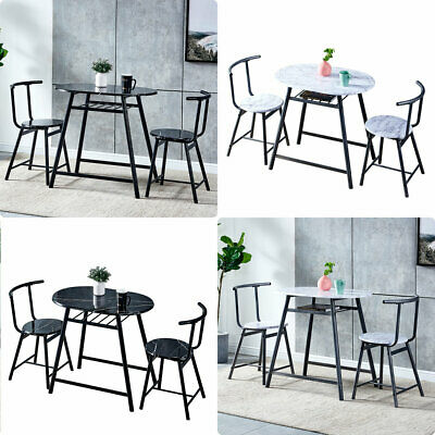 Dining Table And 2 Chairs Set Garden Furniture 2 Seater Bistro Set Marble Look • 79.99£
