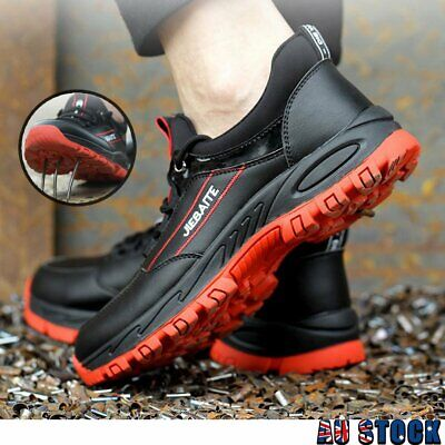 AU38.59 • Buy Mens Safety Work Shoes Steel Toe Sole Breathable Outdoor Boots Hiking Sneakers