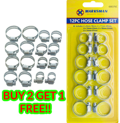 £3.49 • Buy 12pc Hose Clamp Tool Set Jubilee Clips 6 Different Sizes For All Hoses And Pipe