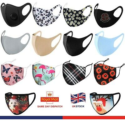 Face Mask Reusable Masks UK Washable Mouth Nose Breathable Protection Cover  • 3.59£