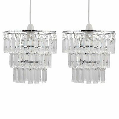 Set Of 2 Modern Three Tier Easy Fit Jewelled Ceiling Light Shade Pendants • 23.99£
