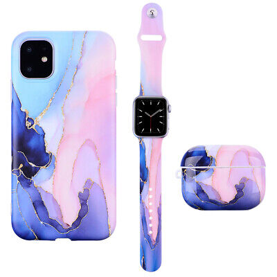 $ CDN6.25 • Buy Marble Silicone Sport Band TPU Case Cover For Apple Watch AirPods Pro 1 2 IPhone