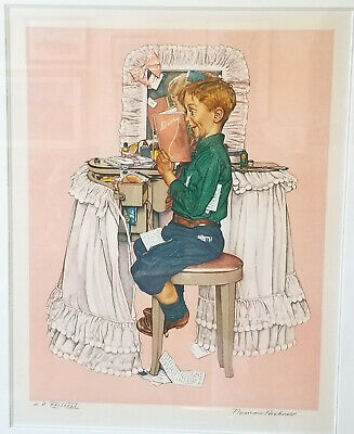 $ CDN2466.79 • Buy Norman Rockwell Signed Lithograph AP - Boy Reading His Sister's Diary - Secrets