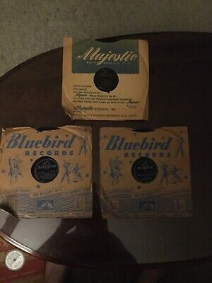 $4 • Buy 3 Vintage 78 RPM Records In Sleeves, 1 Majestic, 2 Bluebird Records