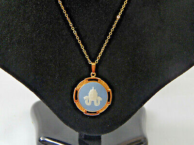 Wedgwood Blue Jasper Pendant Necklace Papal Crown Cameo Gold Plated Vintage  • 44.79£