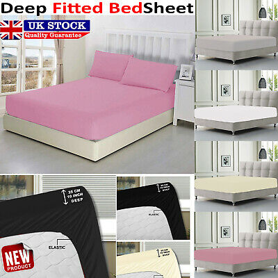 Extra Deep Fitted 25cm Sheet Bed Sheets Single Double King Size 100% Poly Cotton • 7.83£