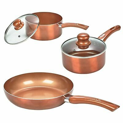 3 PC Saucepan Ceramic Copper Induction Cooking Cookware Frying Pan Set URBN-CHEF • 35.95£