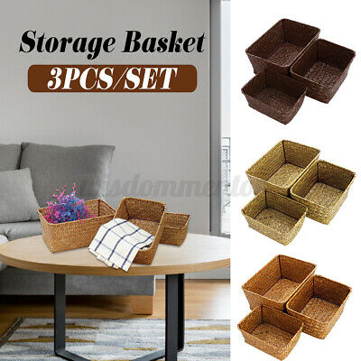 Set Of 3 Seaweed Woven Storage Basket Washing Clothes Hamper Picnic Basket UK • 9.99£