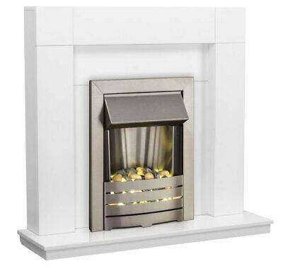 £269.99 • Buy Electric Fire White Fireplace Surround White Hearth Brushed Steel Pebbles Bnib