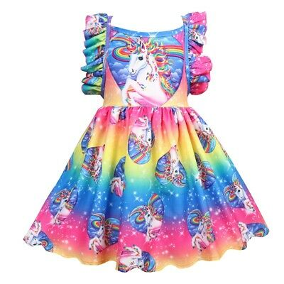 Girls Unicorn Dress Children Kids Party Tutu Dresses Princess Summer Holiday • 8.99£