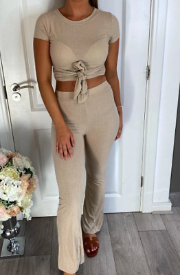Womens Ladies Ribbed Tie Knot 2 Piece Co-Ord Lounge Wear Set Tracksuit New UK  • 15.99£