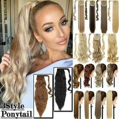 100%Wave Clips In Ponytail Hair Extensions Wrap Around Pony Tail As Human Hair • 10.30£